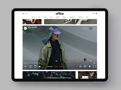 Office Magazine buy purchases shoping shopify shop pay articles video animation video player photo fashion slide book design news web interface