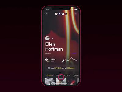 Profiles shoping shopify shop face social profile mobile news slide fashion app ios interface