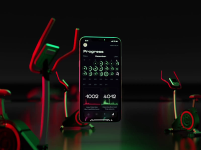 Presence Progress fitness sport analitycs dashboard animation video sketch cinema 4d slide theme dark black iphone ios interface