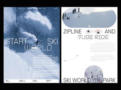 Winter time video animation winter ski book slide design news web interface