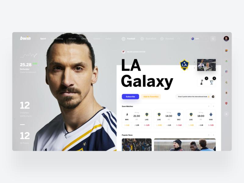 bwin Game profile betting bet football interface ui sport web