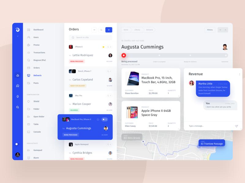 Jet Admin timeline admin panel manager shop cart chat ui web interface dashboard maps