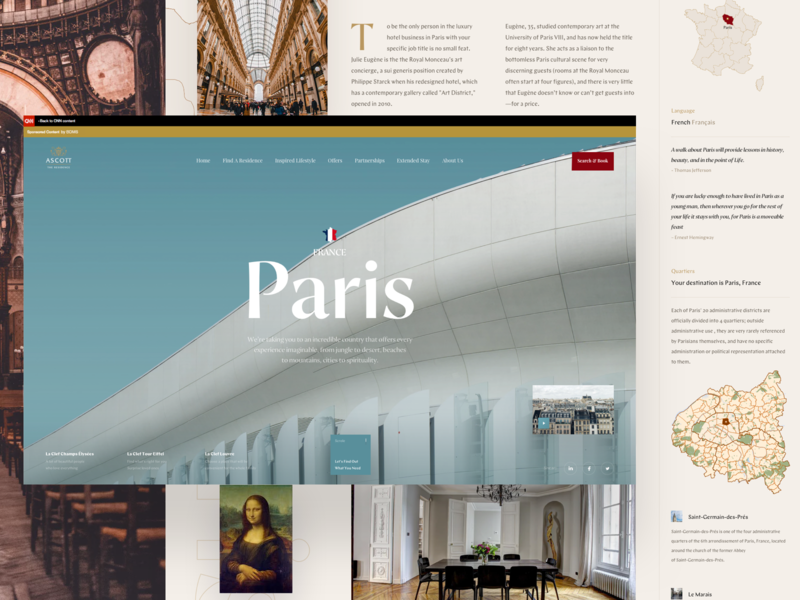 Travel in Paris typography news portal design book web travel blog travel app travel interface news paris