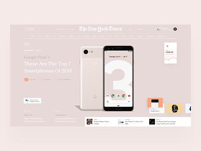 Google Pixel 3 ui photo slide design book news interface web