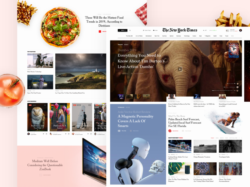 Video sport fashion book design slide 360 degree vr movie news interface web