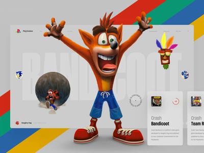 Crash Bandicoot retro oldskool slide book design video news interface web playstation ps4 game