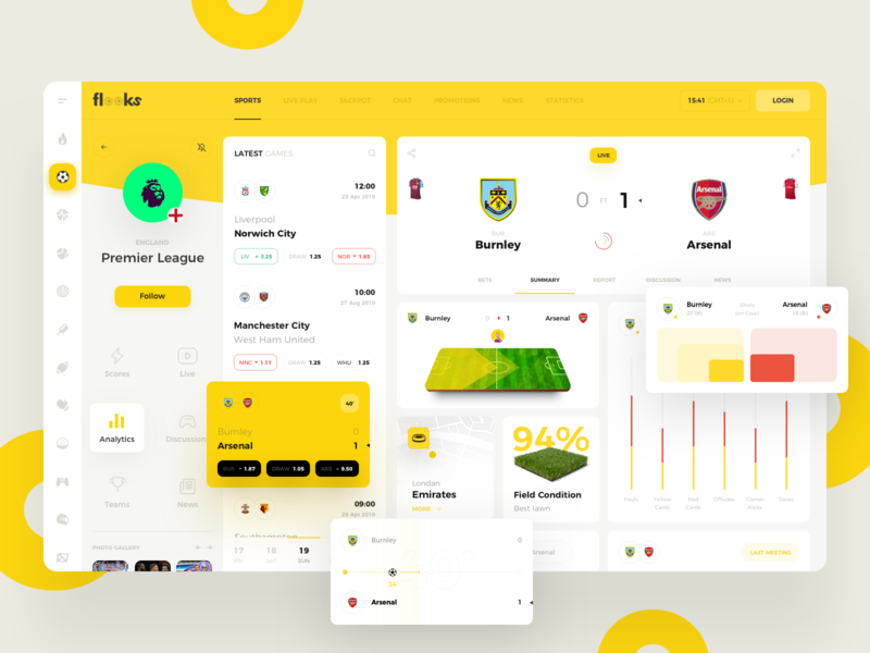 Flooks team managment game user inteface trending events sport admin betting football bookmakers bets dashboard statistics ticket prifile bet interface manager