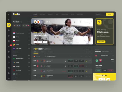 Flooks manager interface bet prifile ticket statistics dashboard bets bookmakers football betting admin sport events trending user inteface game managment team