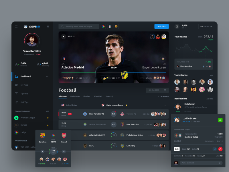 ValueBet user inteface trending statistics manager interface football events dashboard bookmakers betting bets bet admin sport