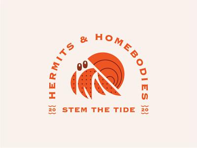 Hermits & Homebodies hermit crab hermit crab badge coronavirus branding icon logo design flat typography illustration vector