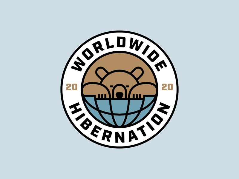 Worldwide Hibernation world globe sleep coronavirus covid19 monoline grizzly bears bear badge type geometric branding icon logo design flat typography vector