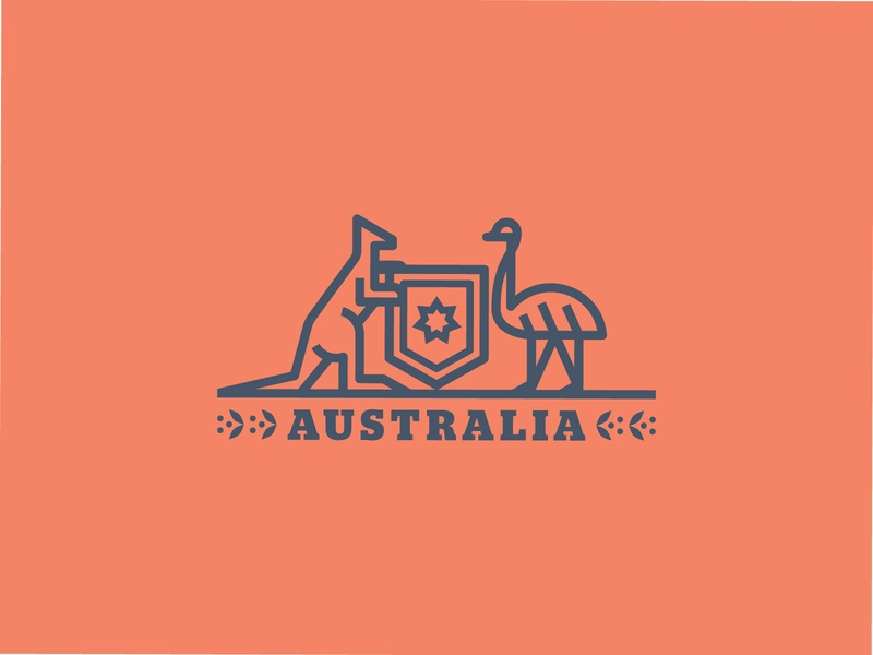 Coat of arms of Australia birds bird aussie wattle shield kangaroos kangaroo emus emu type geometric branding icon logo design illustration flat typography vector