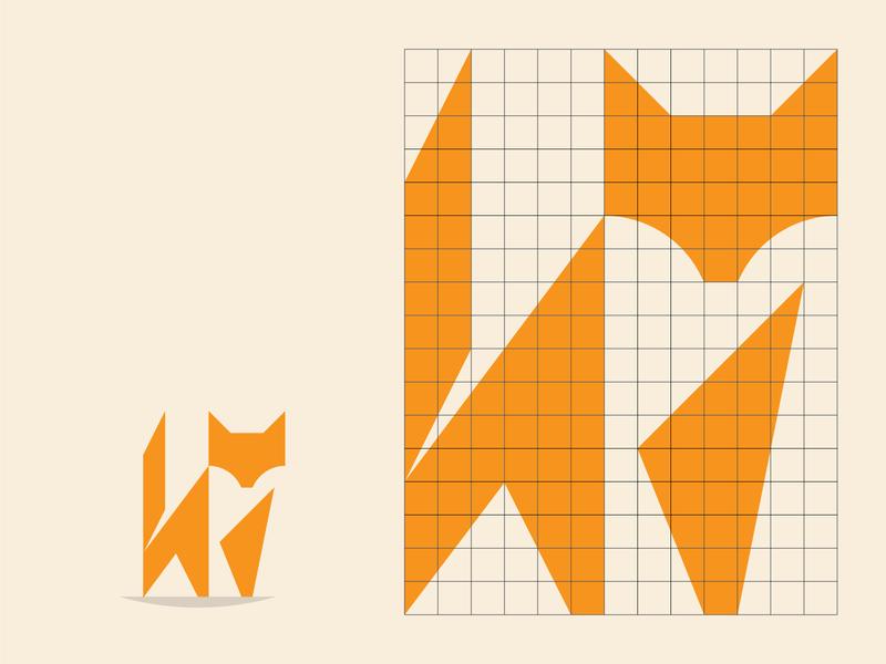Fox Grid fox logo negative space negativespace foxes fox geometric branding icon logo design flat illustration vector