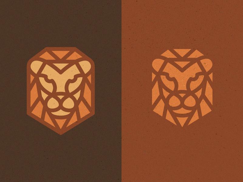 Mono-lion monoline bigcat cat lions lion texture branding icon logo design flat vector