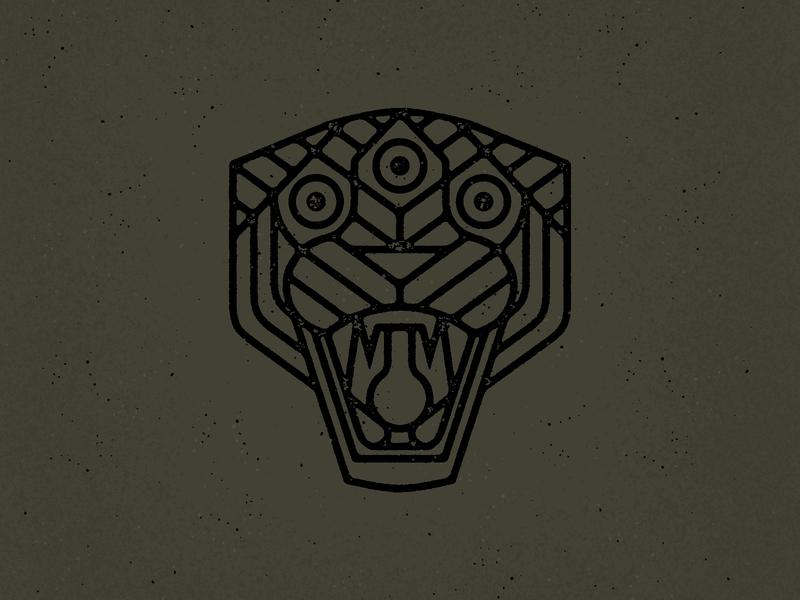 Three Eyed Panther geometric monoline logo texture distressed bigcat cat panthers panther flat vector