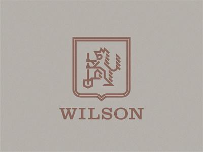 Wilson Crest badges type badge logo shield logo shield coat of arms monoline geometric branding icon typography logo badge flat vector wolves wolf