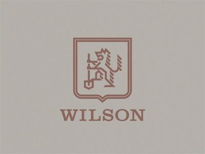 Wilson Crest type badge logo shield logo shield coat of arms monoline geometric branding icon typography logo badge flat vector wolves wolf