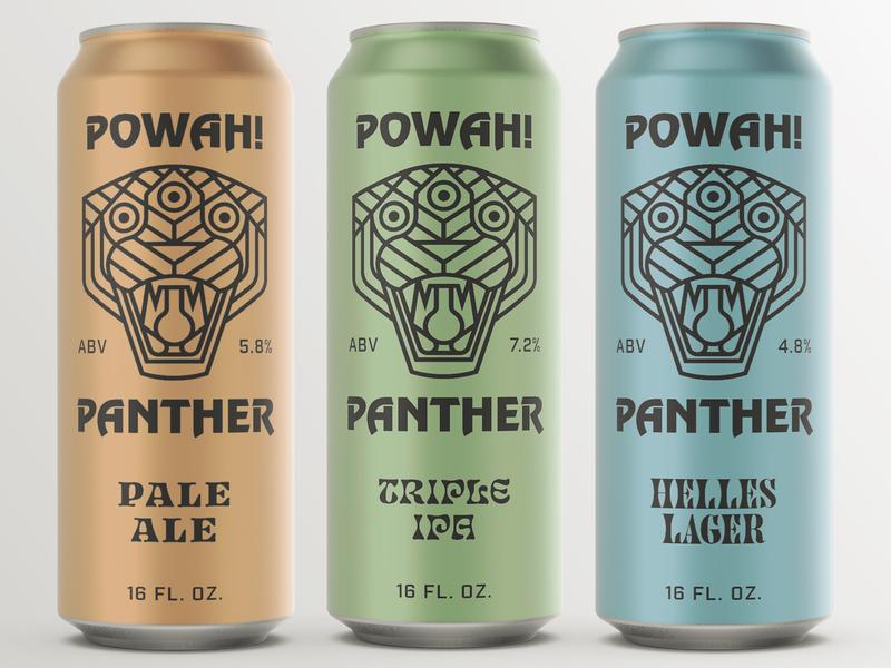 POWAH! PANTHER monoline bigcat panther icon typography illustration design logo flat vector beer branding beer art beer can beer