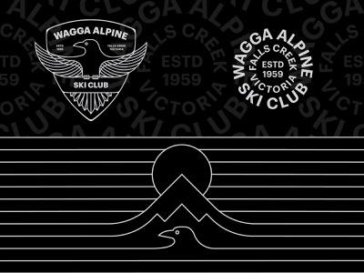 Wagga Alpine Ski Club mountains mountain ski brand identity brand typogaphy bird logo type monoline bird crows crow wagga badge shield