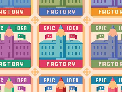 Epic Idea Factory pattern badges factory building pencils pencil type badge geometric branding icon typography illustration design logo flat vector