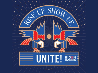 Rise Up. Show Up. Unite! moon stars illustration badge logo typography typeface type harris biden riseupshowupunite rise up birds bird usa eagles eagle design flat vector