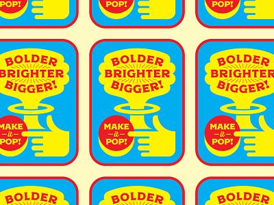 Make it Pop! bomb atomic badge logo badgedesign badges hands hand red button explosion mushroom cloud type badge geometric icon typography illustration logo design flat vector