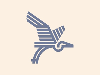 Heron linework lineart geometric design flight wings monoline heron birds bird geometric branding icon logo design flat vector