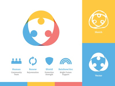 Nonprofit Mark - Two rainbow process shield nonprofit personal people humans human geometric branding icon logo design flat vector