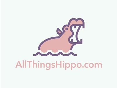 All Things Hippo teeth mouth river water animal logo monoline minimal animal hippopotamus hippo type geometric branding typography illustration icon logo design flat vector