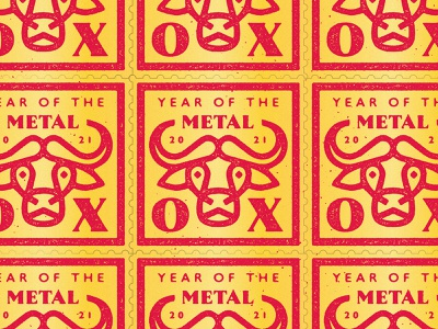 Year of the Metal Ox horns chinesenewyear chinese cow bull yearoftheox ox stamps stamp badges badge type geometric branding typography icon logo design flat vector