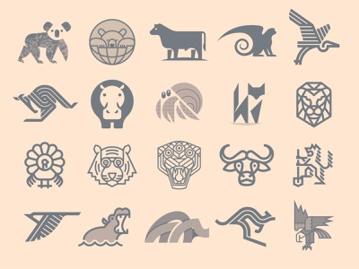 Animal Marks logo eagle rhino birds wolf ox tiger turkey lion fox crab hippopotamus hippo kangaroo bird heron monkey cow bear koala
