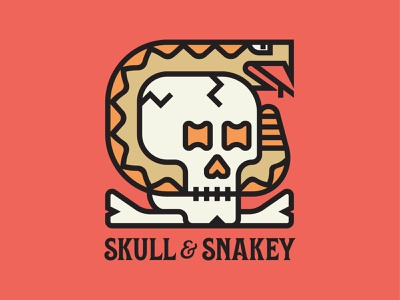 Skull & Snakey logos reptile bones bone branding typography icon design flat logo vector skulls skeleton serpent snakes skull snake