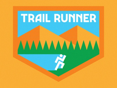 Trail Runner typography flat icon logo outdoors nature badges badge trails hill pine trees tree mountains mountain trail running runner run vector