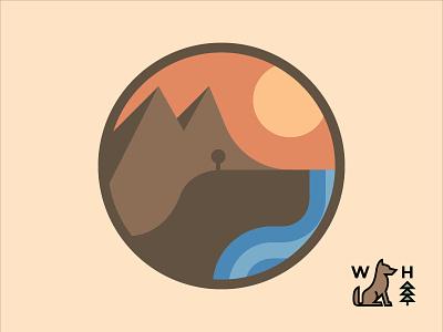 Spot the Dog? park hiking hike monogram hill geometric dog tree sun mountain water landscape branding logo icon design flat typography vector illustration