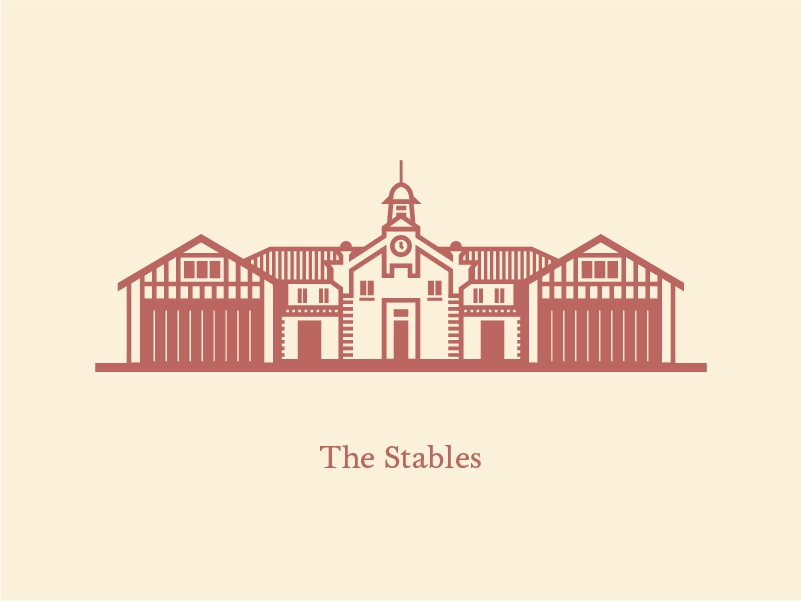 Big Springs Stables windows vintage vector typography stairs stables lineart illustration icon home flat engraving design clock buildings brick barn architecture
