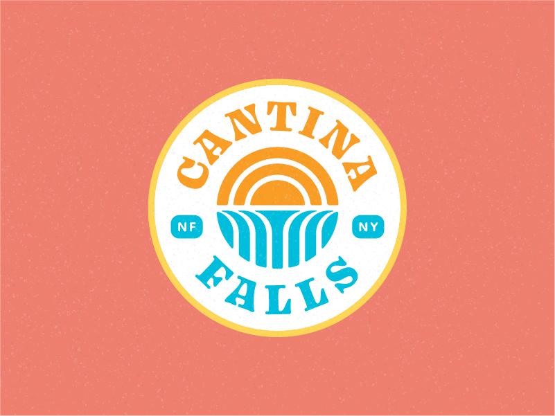 Cantina Falls - Badge Logo tex mex niagara type restaurant texmex abstract badge taco mexican waterfalls waterfall falls sun geometric branding logo icon typography vector illustration
