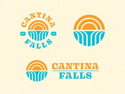 Cantina Falls - Logo Suite tex mex niagara waterfalls waterfall vector typography type texmex taco sun mexican  restaurant logo illustration icon falls  geometric branding badge abstract