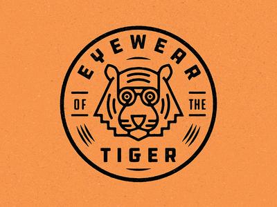 Eyewear of the Tiger monoline emblem crest enclosure badge logo badge eyewear eyes eye glasses type texture vector branding geometric flat logo tigers tiger logo tiger