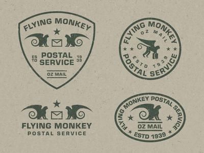 Flying Monkey Postal Service mail postal service distressed oz wizardofoz monkeys monkey badge type texture geometric branding flat logo typography illustration vector
