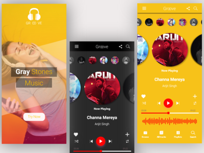 Gray Stones Music uidesign uix android groove dark yellow frequency stop forward play pause playlists playlist arijit headphone gray stones song music app