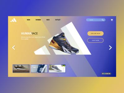 Adidas | Human Race | Web Design | XD logo web  design illustartor adobe xd branding shoes run brand sports brand sports adidas shoes adidas adobe xd design art we design web