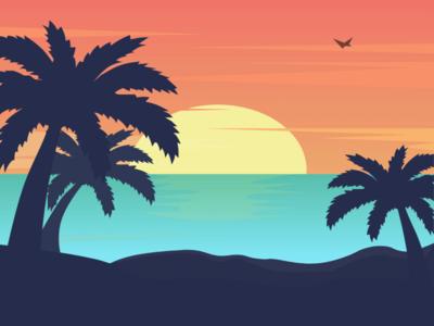 Beach Sun Set sun sunset beach bar uidesign beach vector art ui illustrator design illustrator xd adobe