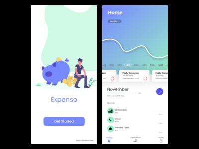 Expenso - MoneyTracker design app android app development adobe animate tracker money graph illustration button get started nav-bar animation adobe xd xd adobe ui ux user ui android app design android app android