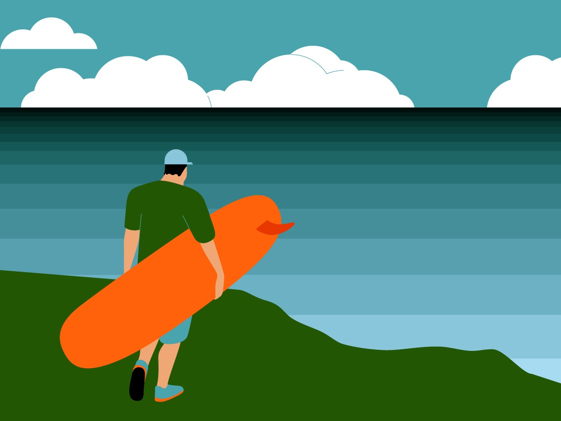 Open World Longboard Champs character taiwan surf longboarding adobe illustrator vector