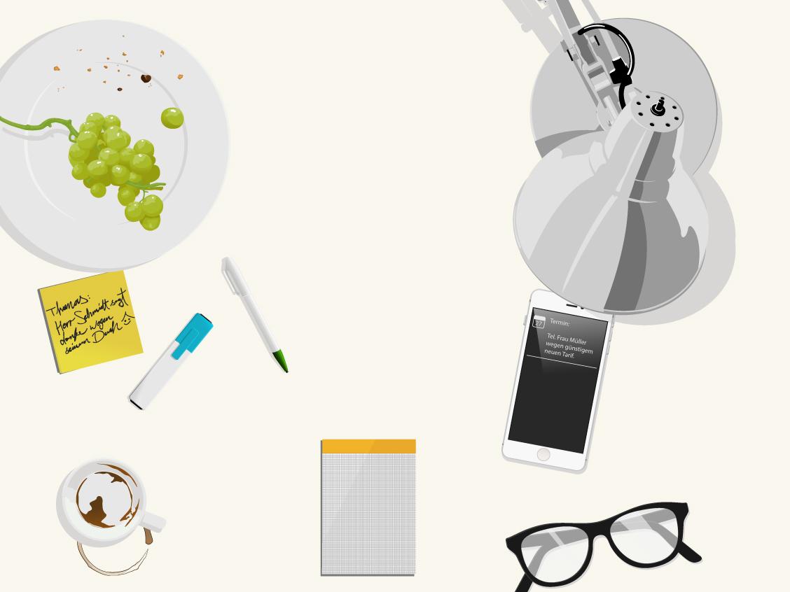 Js On the desk pencil pen post-it lamp iphone5 espresso grapes glasses vector illustrator