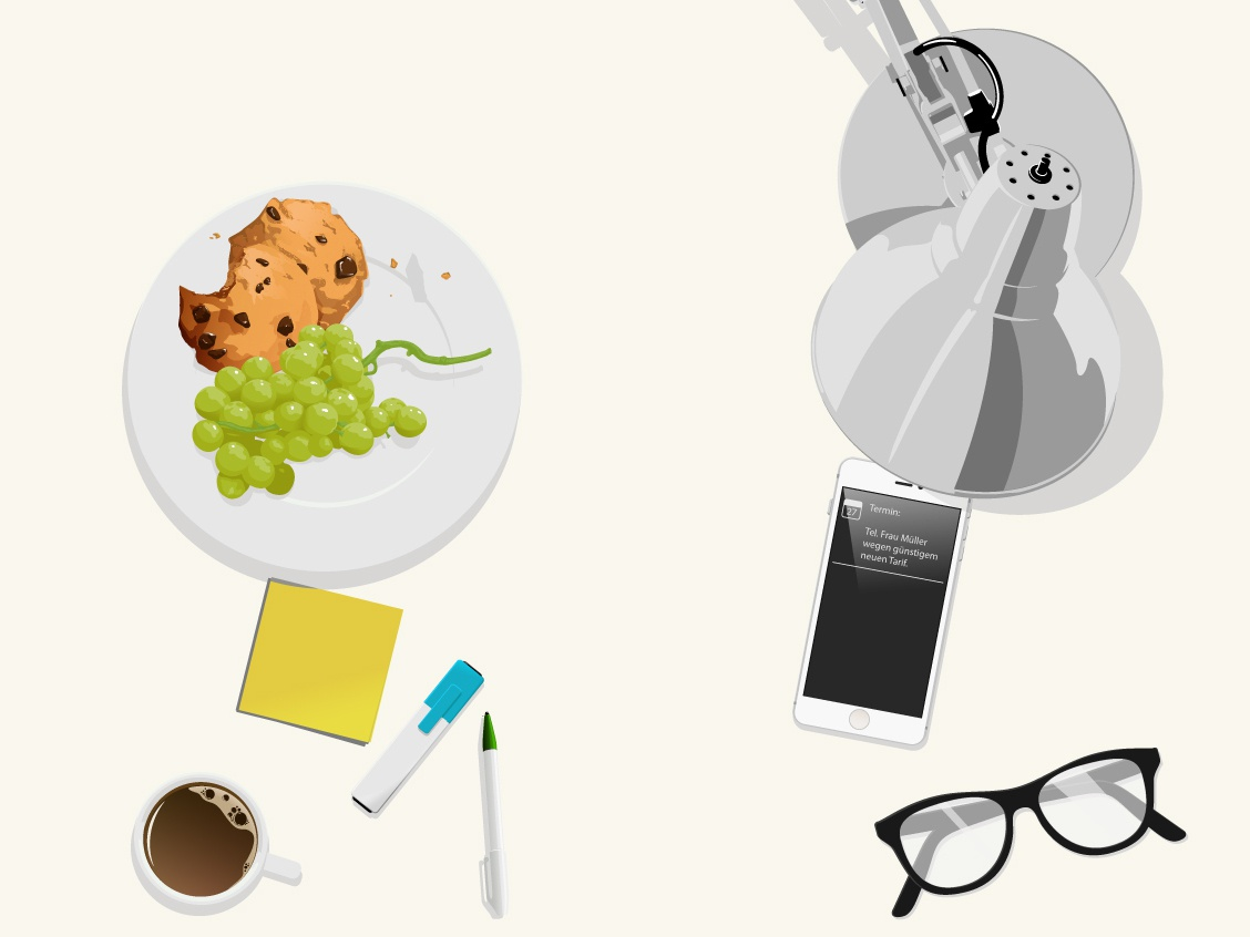 On the desk 02 adobe illustration vector glasses iphone 5 lamp espresso pen post-its grapes cookies