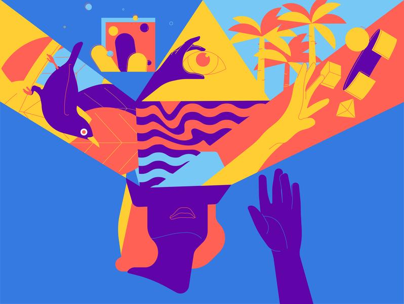 Digital worlds eye palms hands bird vector adobe illustration digital virtual reality