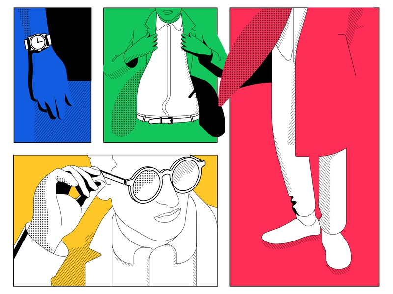 Saturday night adobe illustraion vector digital character pattern color coat glasses watch shoes fashion