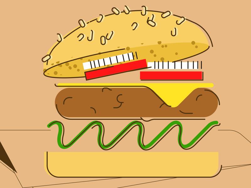 Burgertime in color food color 2d vector illustration