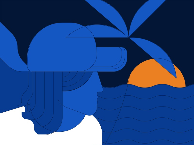 Js Indo sea character 2d digital vector illustration palm sunset cap indonesia